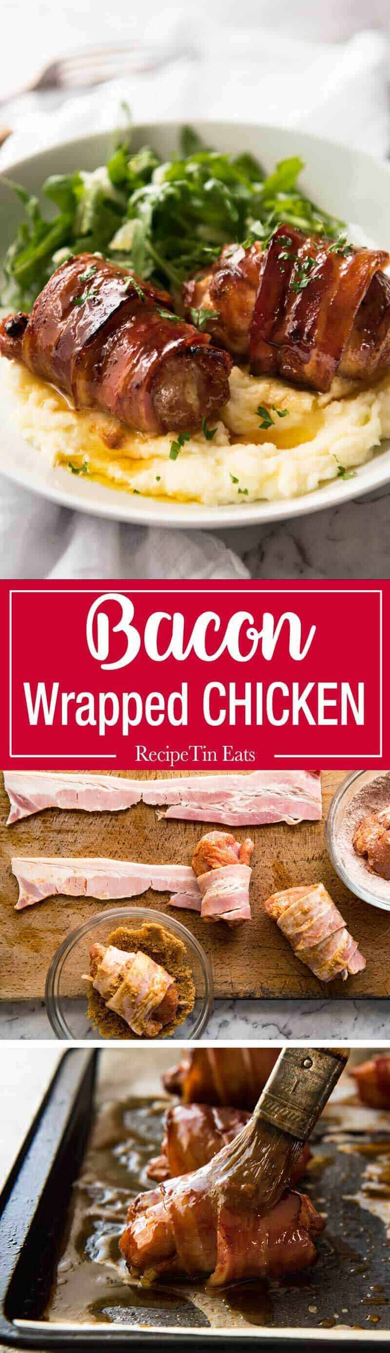 Bacon Wrapped Chicken - A spectacular way to dress up chicken with just a few simple ingredients! Brown sugar is the key to creating a gorgeous glaze on the bacon. www.recipetineats.com