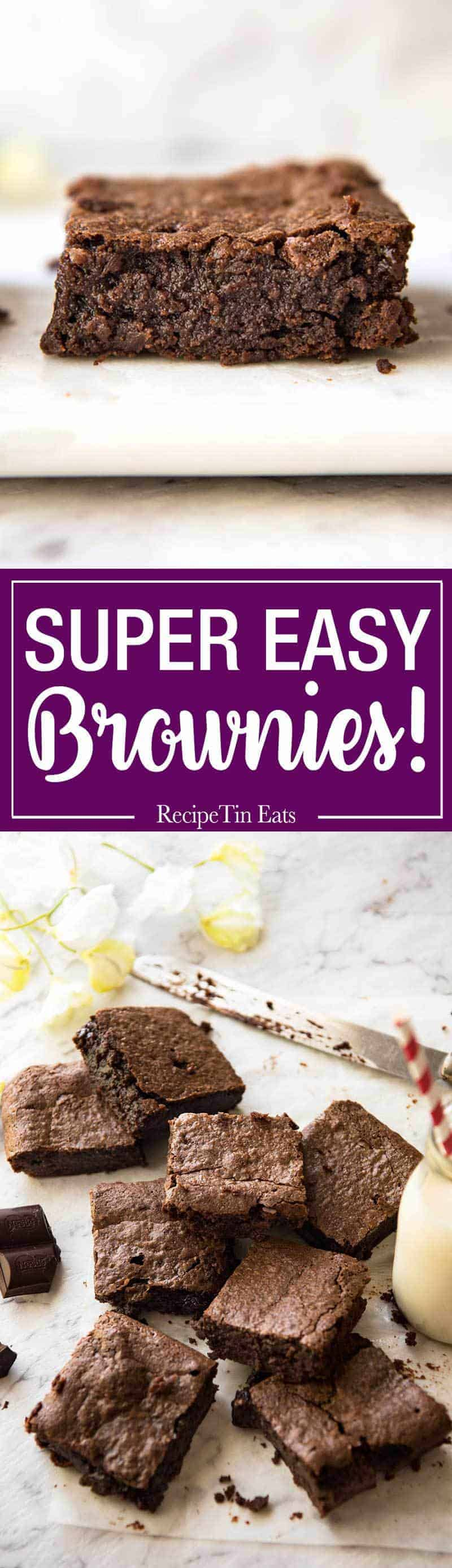 Easy Chocolate Brownies - 5 minutes is all it takes to make this batter for these fudgey, moist, very chocolatey brownies! www.recipetineats.com