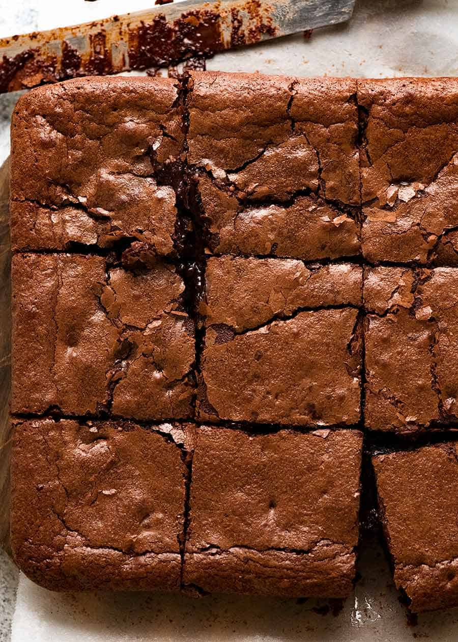 Overhead photo of brownies with crackly top