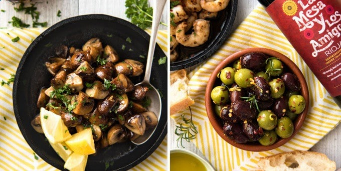 5 Easy Spanish Tapas recipes - Garlic Mushrooms and Marinated Olives www.recipetineats.com