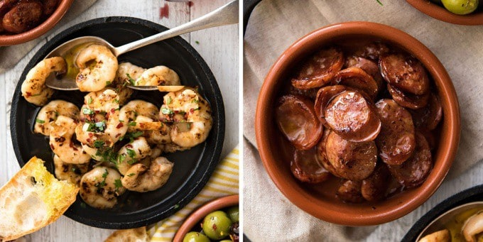 5 Easy Spanish Tapas recipes - Garlic Prawns and Chorizo www.recipetineats.com
