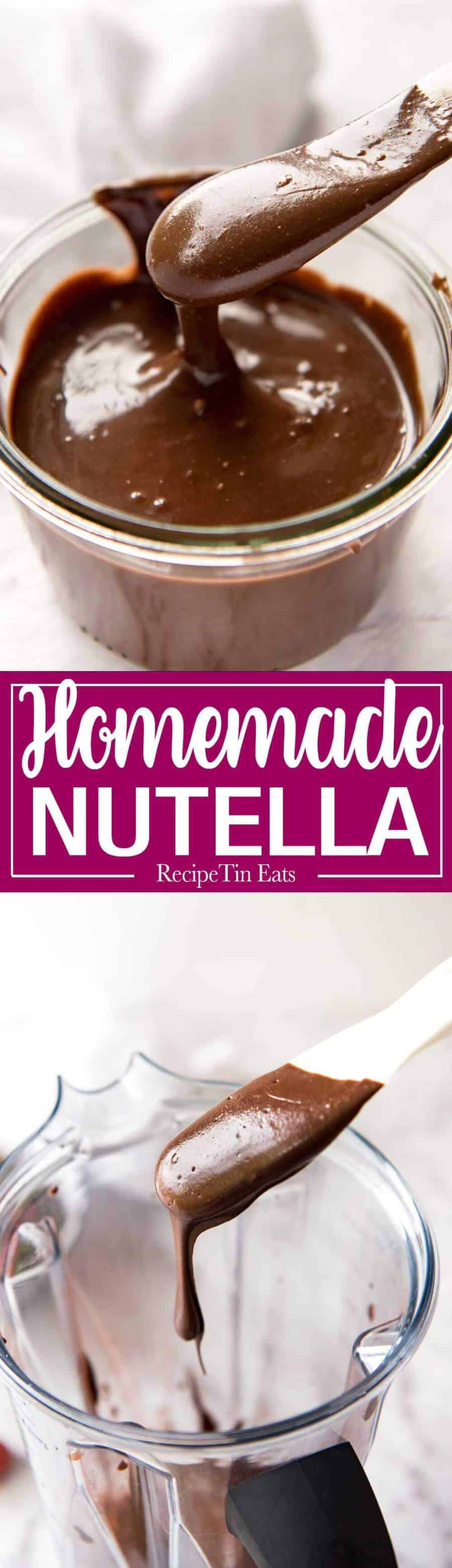 Homemade Nutella - Just hazelnuts, cocoa powder, confectionary / icing sugar, oil, vanilla and your blender is all you need to make an incredible blender at home! recipetineats.com