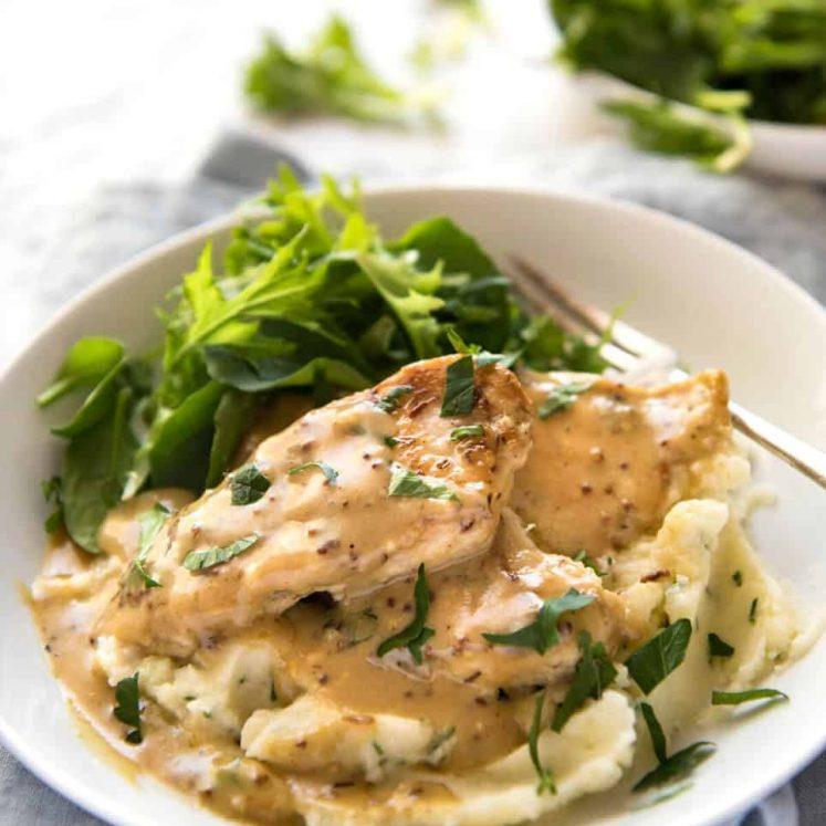 Honey Mustard Chicken - Chicken simmered in a homemade honey mustard sauce. Super easy, super fast! www.recipetineats.com