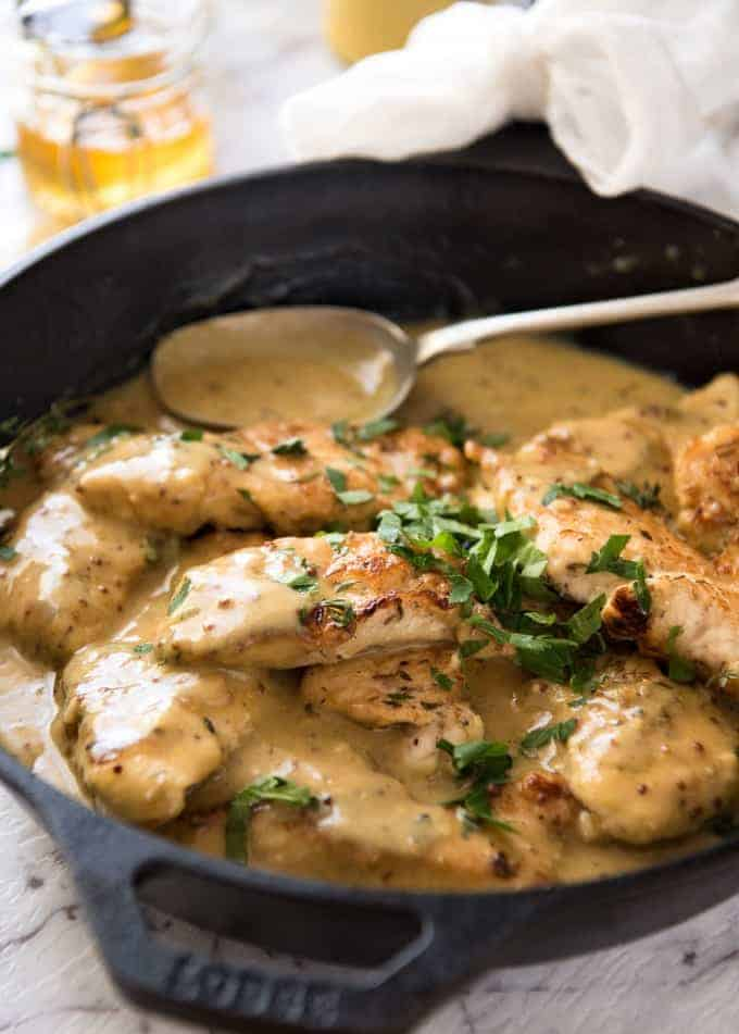 Honey Mustard Chicken - Chicken simmered in a homemade honey mustard sauce. Super easy, super fast! www.recipetineats.com