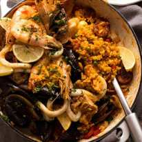 Freshly cooked Paella ready to be served