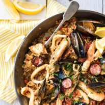 Spanish Paella - The right rice, right amount of liquid and the base seasonings is the foundation of a great Paella. The additions are up to you! This is a classic Chicken & Seafood Paella. www.recipetineats.com