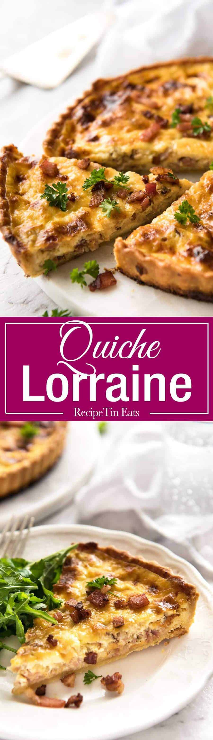 Easy Quiche Lorraine - A beautiful smooth, soft custard filling, this is the BEST easy Quiche Lorraine recipe you will ever try! recipetineats.com