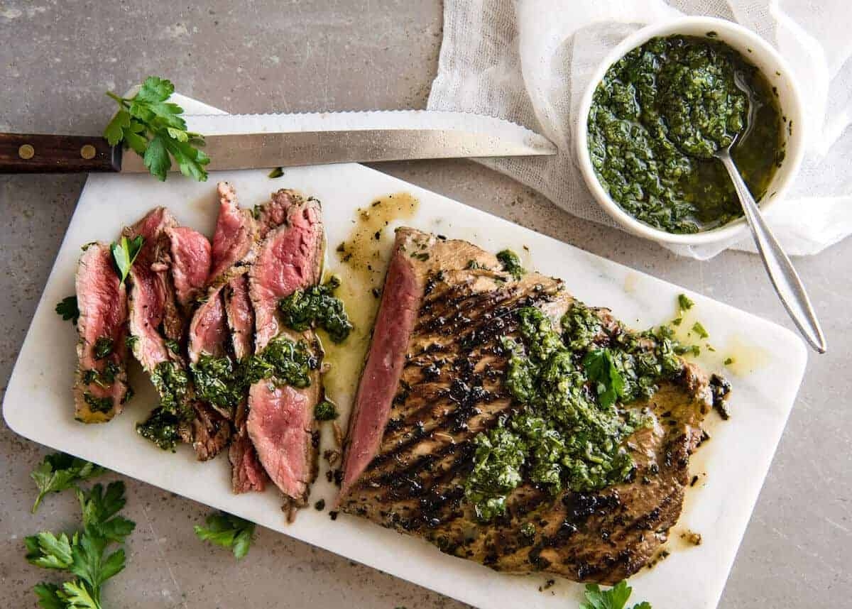 Skirt Steak with Chimichurri Sauce | RecipeTin Eats