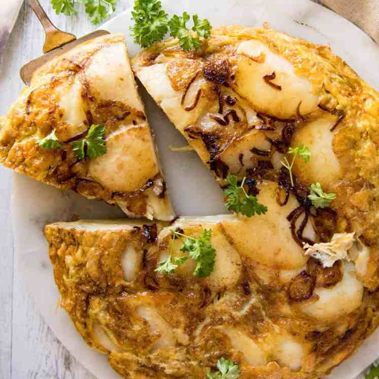 Spanish Omelette (Tortilla) - One of the best omelettes in the world, made with just eggs, potatoes, onion and olive oil! recipetineats.com