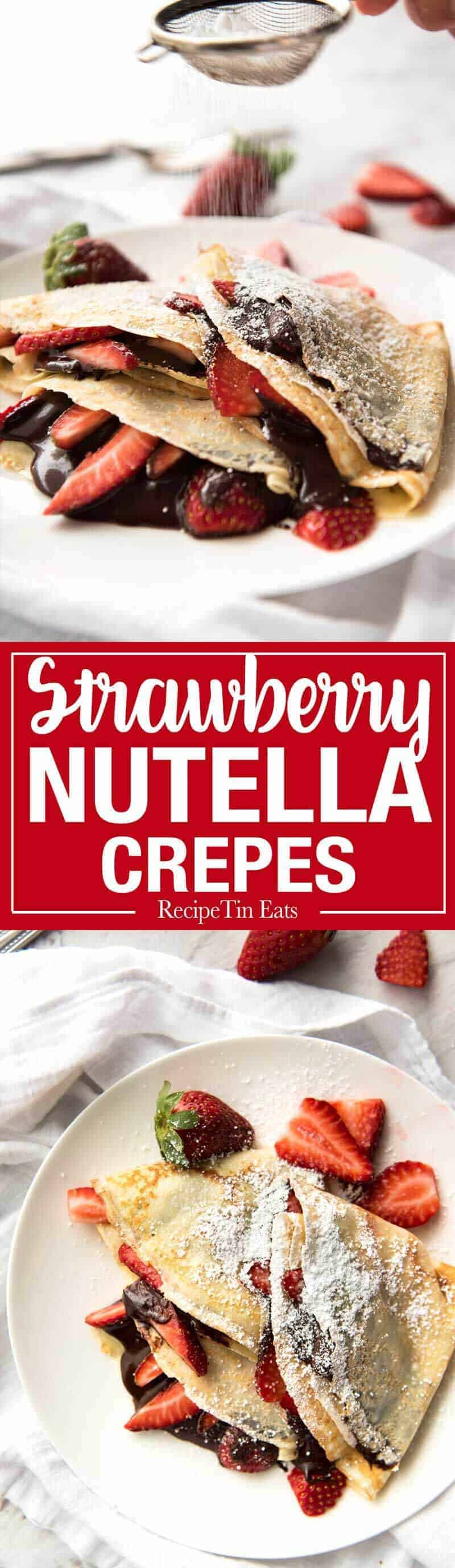 Nutella Crepes with Strawberries - The batter is a 10 second job when made with a blender! And you do not need a crepe pan, just a skillet! recipetineats.com