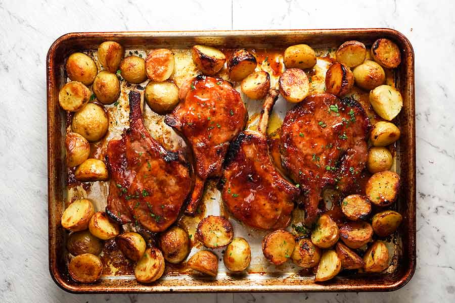 baked pork chop and red potato recipe Oven Baked Pork Chops with Potatoes  RecipeTin Eats