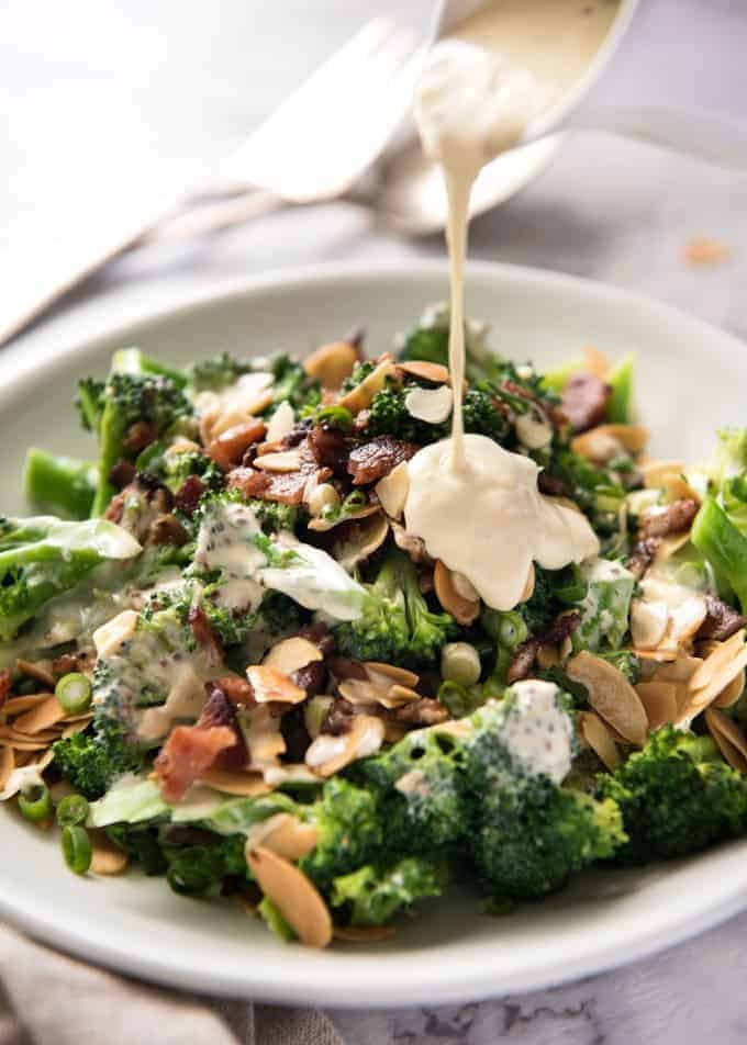 Broccoli Salad with Sour Cream Dressing - No more boring broccoli! Tossed with a gorgeous mayo-free creamy dressing. www.recipetineats.com