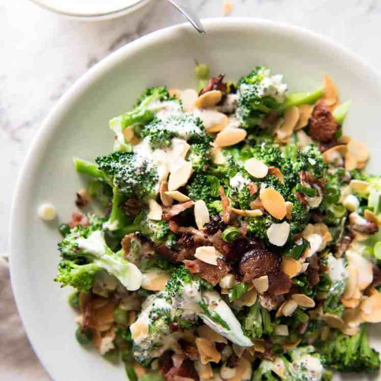Broccoli Salad with Sour Cream Dressing - No more boring broccoli! Tossed with a gorgeous mayo-free creamy dressing. recipetineats.com