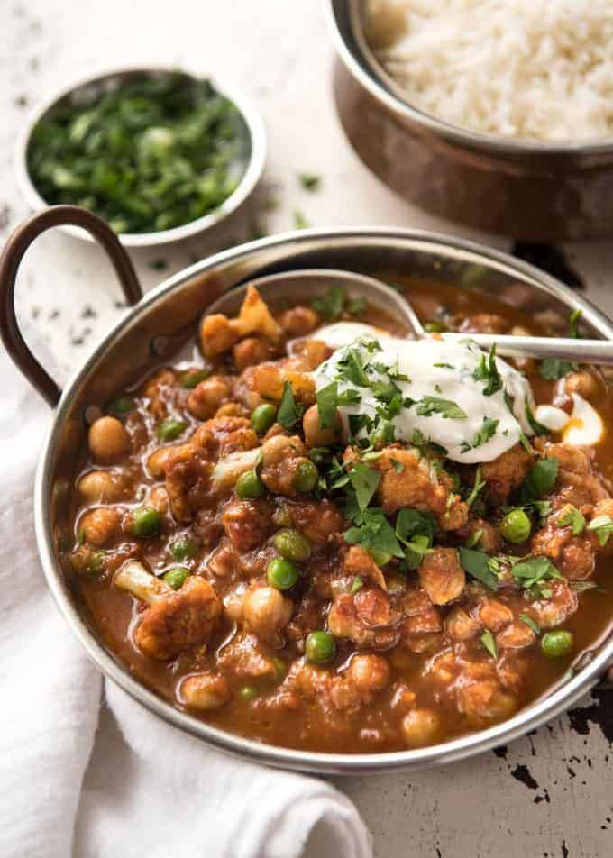 This Cauliflower and Chickpea Curry is an authentic Indian homestyle recipe that's healthy and made with everyday ingredients! www.recipetineats.com