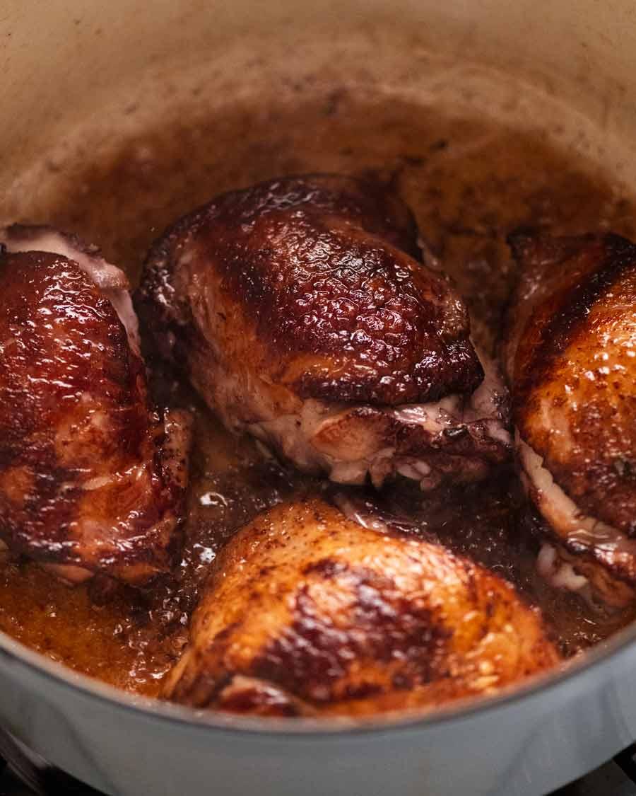 Searing chicken for Coq au Vin - French chicken stew