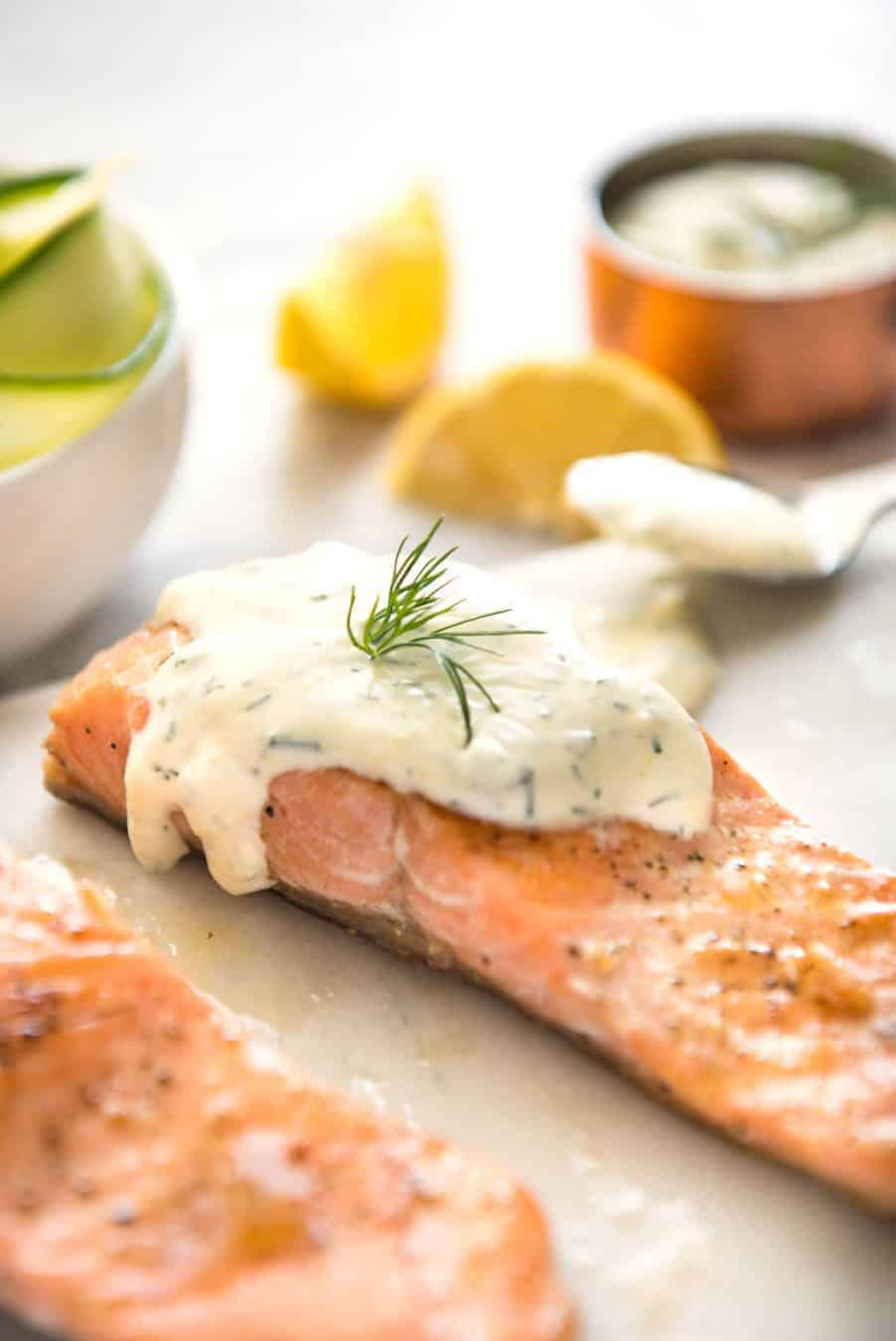creamy dill sauce for salmon or trout recipetin eats