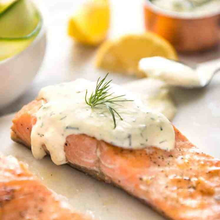 Creamy Dill Sauce with Salmon or Trout - A simple, refreshing sauce that pairs beautifully with rich salmon. Dinner on the table in 15 minutes! www.recipeteineats.com