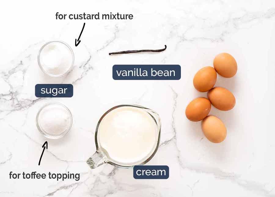 Creme Brûlée ingredients