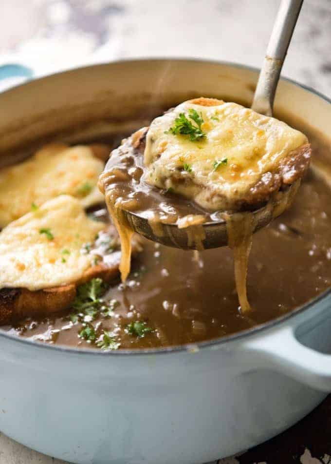 One of the most popular soups in the world, this is a true classic French Onion soup recipe by French Chef Manu Feidel.
