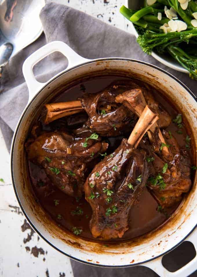 Port Braised Lamb Shanks - easy to make slow cooked lamb shanks in an incredible port wine sauce! www.recipetineats.com
