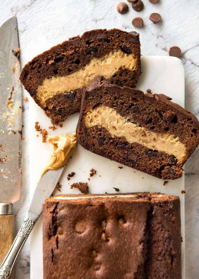 Peanut Butter Cheesecake Stuffed Chocolate Loaf - Moist chocolate quick bread stuffed with creamy peanut butter cheesecake. It's your dream come true! recipetineats.com