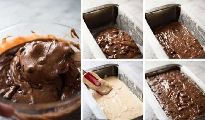 Peanut Butter Stuffed Chocolate Loaf Steps