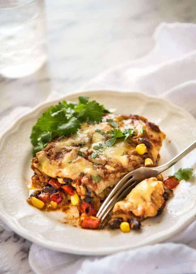 Vegetarian Mexican Lasagna | RecipeTin Eats