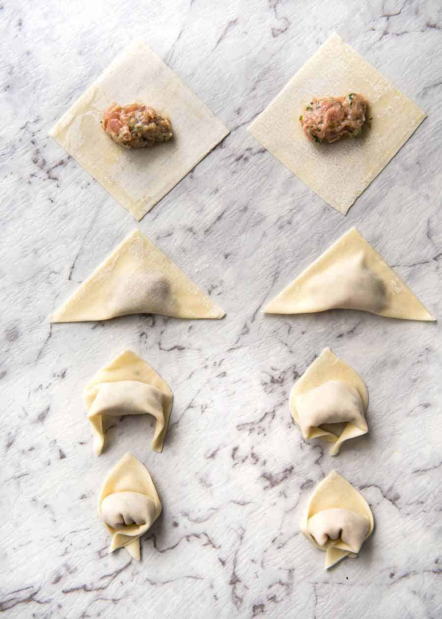 How to make Wontons // How to wrap wontons