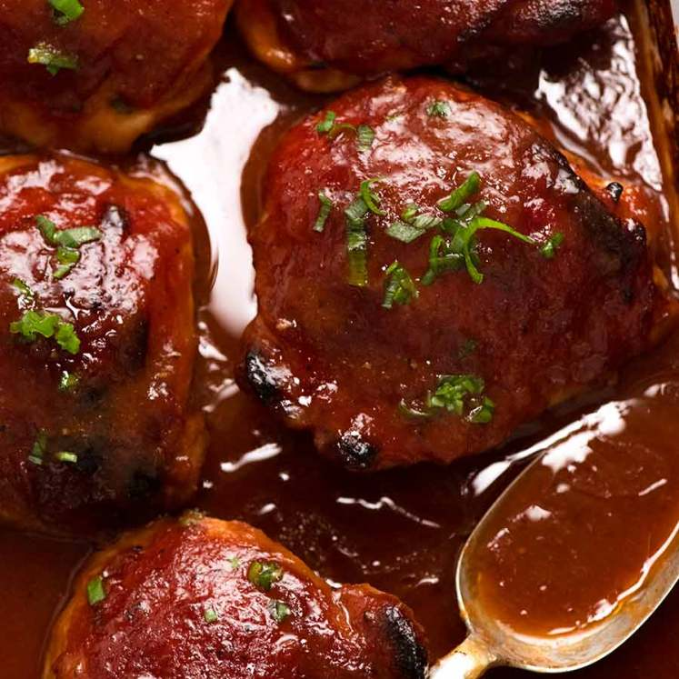 Photo of Oven Baked Barbecue Chicken with Barbecue Sauce in baking dish