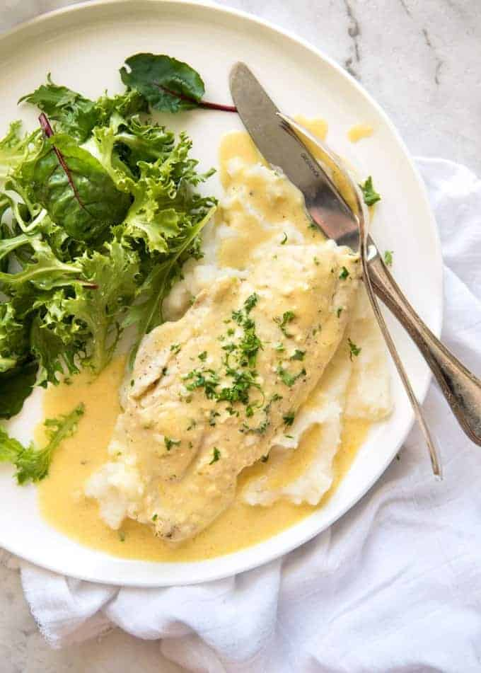 This Baked Fish With Lemon Cream Sauce Is All Made In One Baking Dish Dinner