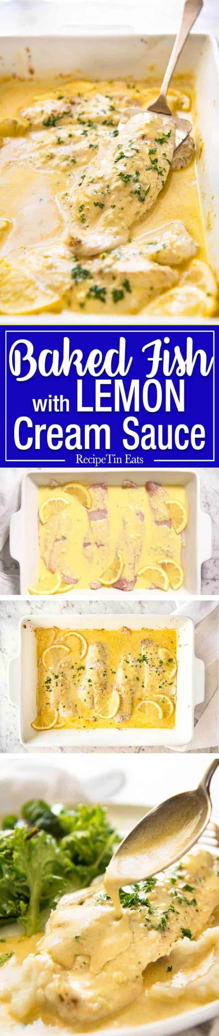 This Baked Fish with Lemon Cream Sauce is all made in one baking dish! Dinner on the table in 15 minutes. recipetineats.com