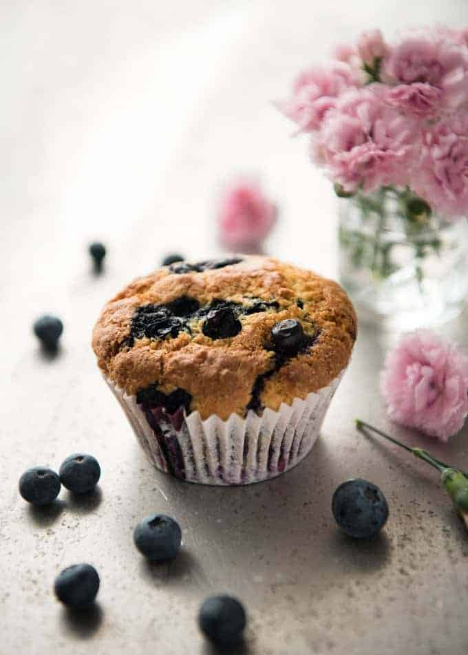 The secret for moist fluffy blueberry muffins: use butter plus oil, don't mix the batter more than 10 times and don't bake for longer than 20 minutes. Perfect muffins, every time! www.recipetineats.com