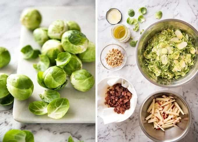 Brussel Sprout Salad - the combination of brussels sprouts, bacon, apple and hazelnuts is a magical combination! recipetineats.com