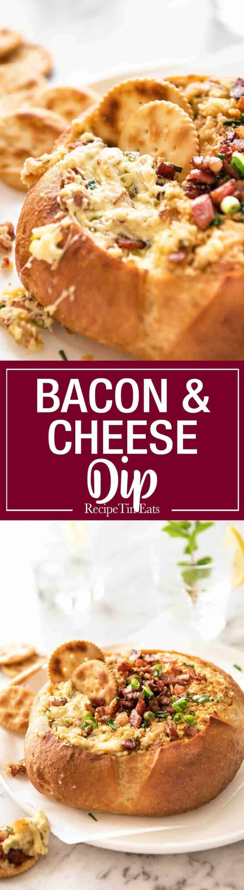 This Cheese and Bacon Dip is creamy, cheesy and loaded with bacon! Super easy to make, made with cream cheese. recipetineats.com