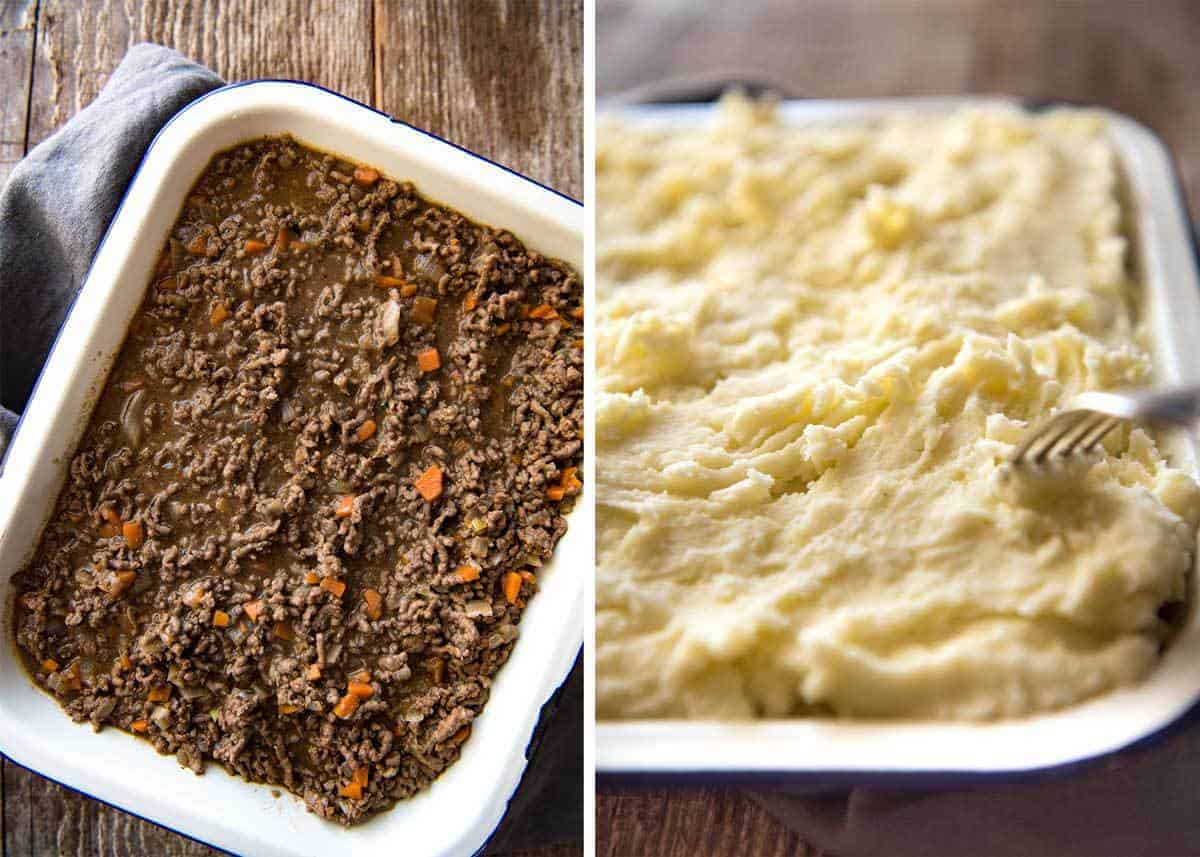 A classic, epic Cottage Pie! Ground beef (mince) in a beautiful gravy topped with mashed potato, baked to golden crusty perfection. Comfort food central! www.recipetineats.com