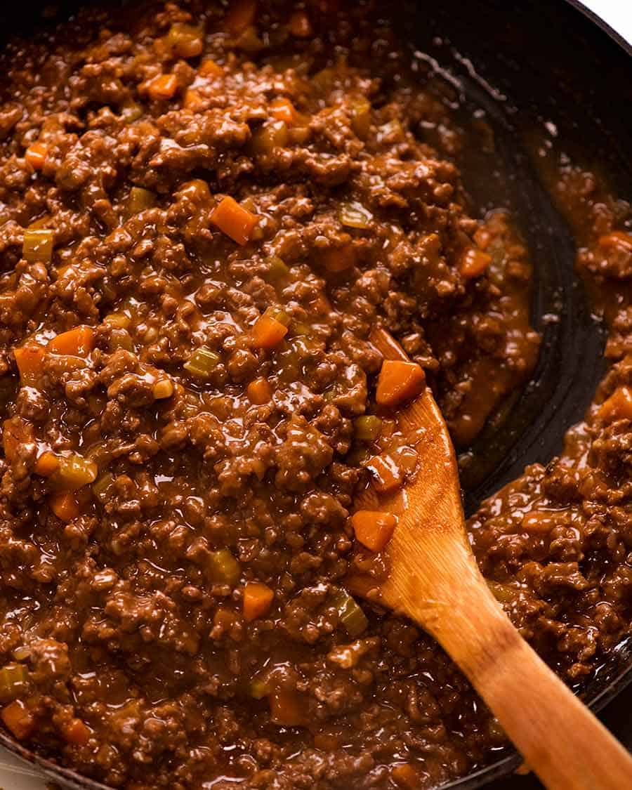 Close up of beef filling for Cottage Pie ready to put in casserole dish