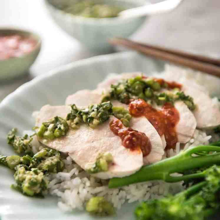 Extra juicy perfect Poached Chicken Breast guaranteed to work every single time! This technique is so easy, it will blow your mind. Served with a gorgeous Ginger Scallion (Shallot) Sauce. recipetineats.com
