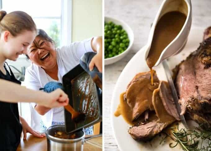 Gravy for Roast Lamb - 4 tbsp drippings + 3 tbsp flour + 2 cups beef or chicken broth. It's that easy! www.recipetineats.com