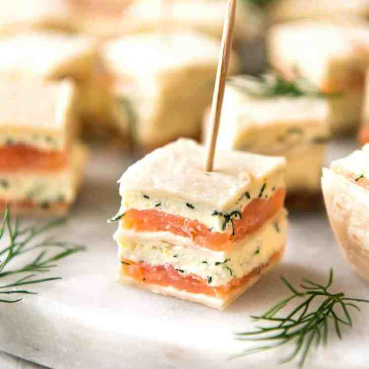 Smoked Salmon Appetizer fantastic for gatherings - no fiddly assembly, served at room temperature, looks elegant and tastes SO GOOD! recipetineats.com