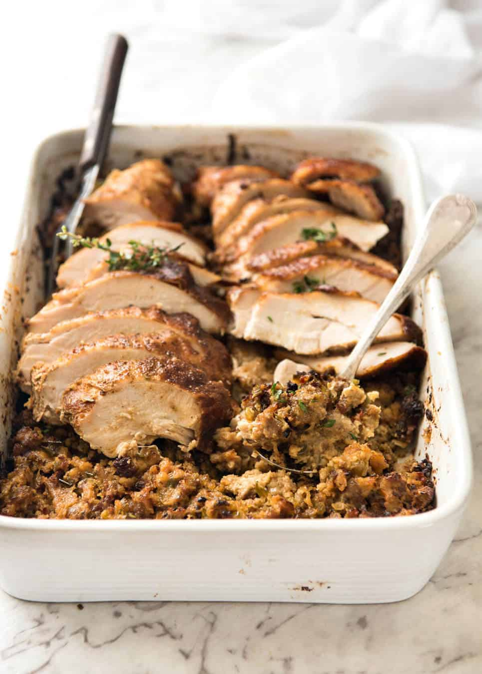 Cajun Baked Turkey Breast And Dressing Stuffing