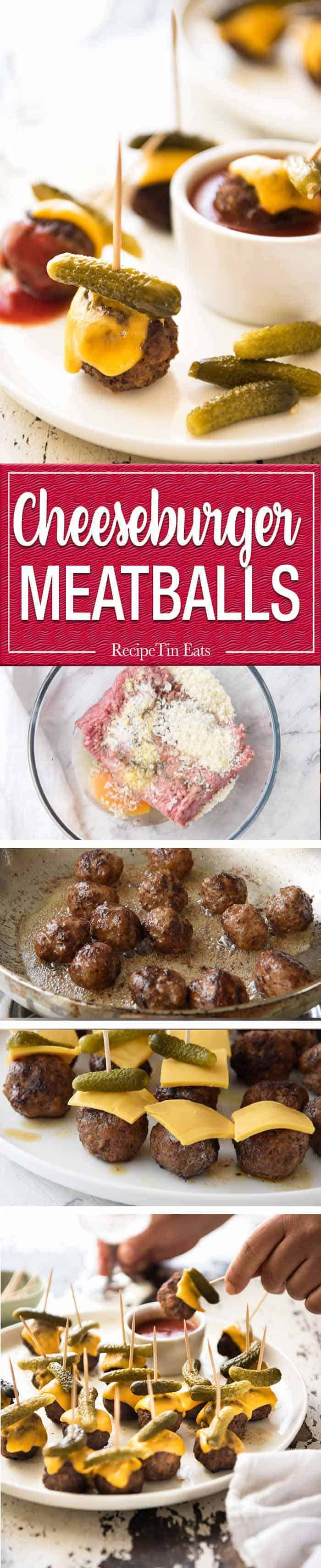 Cheeseburger Party Meatballs - tastes like a cheeseburger, in bite size form! Great for making ahead - fully assemble (inc toothpicks), 90 sec reheat in microwave. www.recipetineats.com