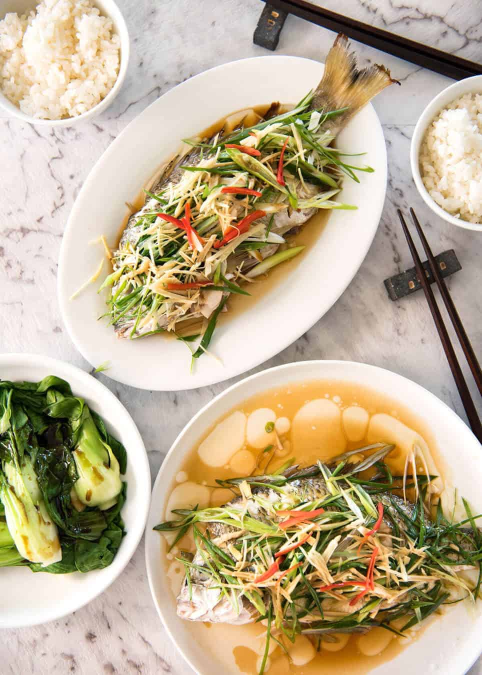 Chinese steamed fish with ginger shallot sauce recipetin for Asian fish sauce