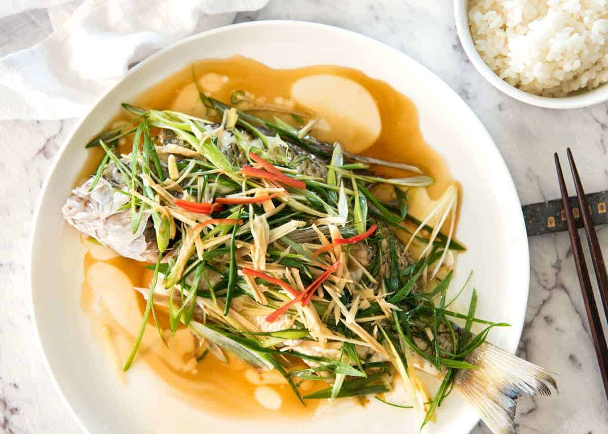Chinese steamed fish with ginger shallot sauce recipetin for How to steam fish