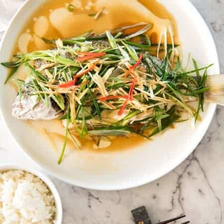 Chinese Steamed Fish with Ginger Shallot Sauce