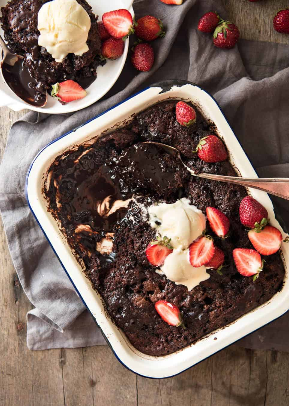 Chocolate Self Saucing Pudding - 1 batter transforms into a moist chocolate cake with a beautiful silky chocolate sauce! 10 minutes active effort. recipetineats.com
