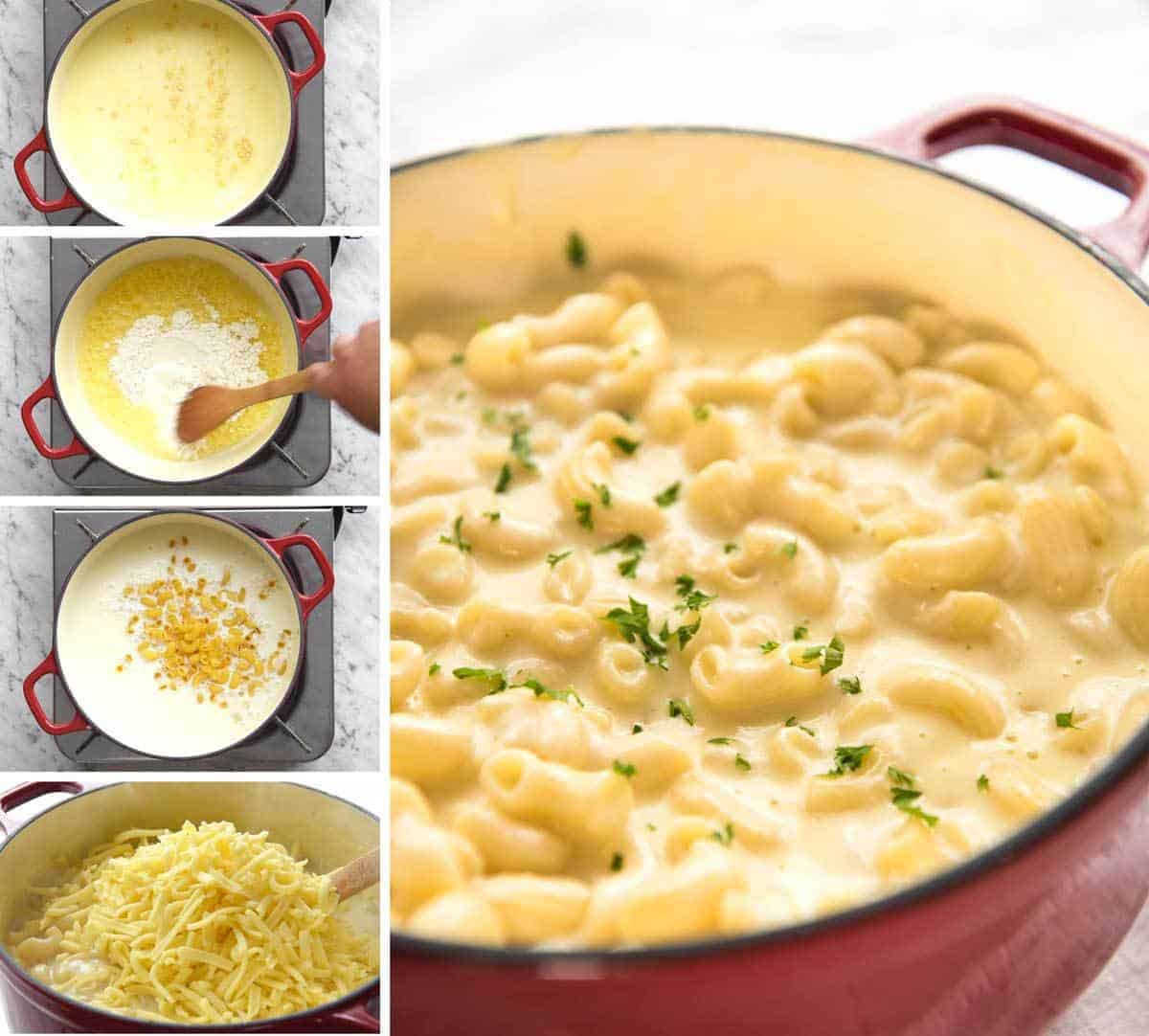 This Stovetop Macaroni and Cheese is all made in one pot! The sauce is incredibly silky, cheesy and the pasta is cooked to perfection. On the table in 20 minutes! www.recipetineats.com