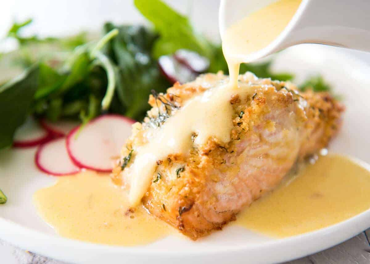 Baked Parmesan Crusted Salmon With Lemon Cream Sauce