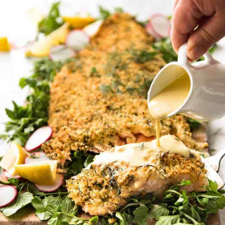 Baked Parmesan Crusted Salmon with Lemon Cream Sauce - easy and fast to make, can be prepared ahead, a stunning centrepiece for Christmas dinner and yet easy enough for midweek. That Lemon Cream sauce is the perfectly finishing tough. recipetineats.com