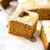 This Pumpkin Cake recipe is incredibly easy, fast and forgiving. The cake is tender and so moist, topped with a fluffy cream cheese frosting! www.recipetineats.com