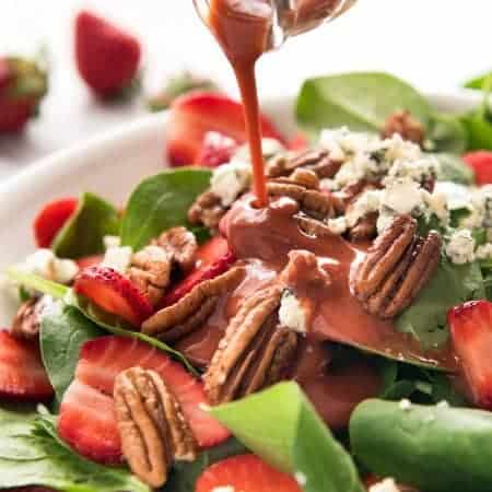 Strawberry Spinach Salad with Strawberry Balsamic Dressing